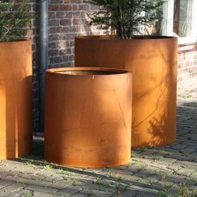 Corten Steel Cylinder Atlas Planter Round Flower Shrub