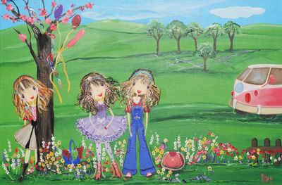 Picnic Time from my whimsical girls artworks by Peta E. More info about me at my website www.petae.com.au