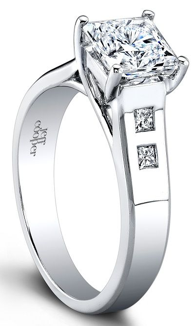 jeff cooper trellis engagement ring w princess cut side stones this modern trellis engagement ring setting by jeff cooper features four burnished