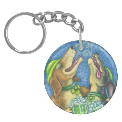 GREEN BEER AND IRISH HOUNDS KEYCHAIN Round  $11.60  by SusanBrackDesigns  - cyo customize personalize unique diy idea
