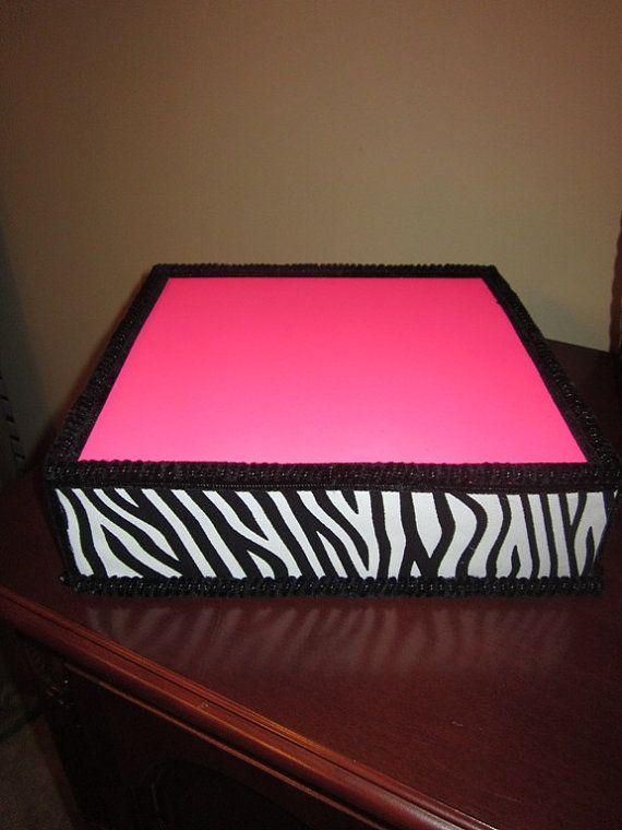 """Cake Pop Stand Pink Zebra Square 12"""""""