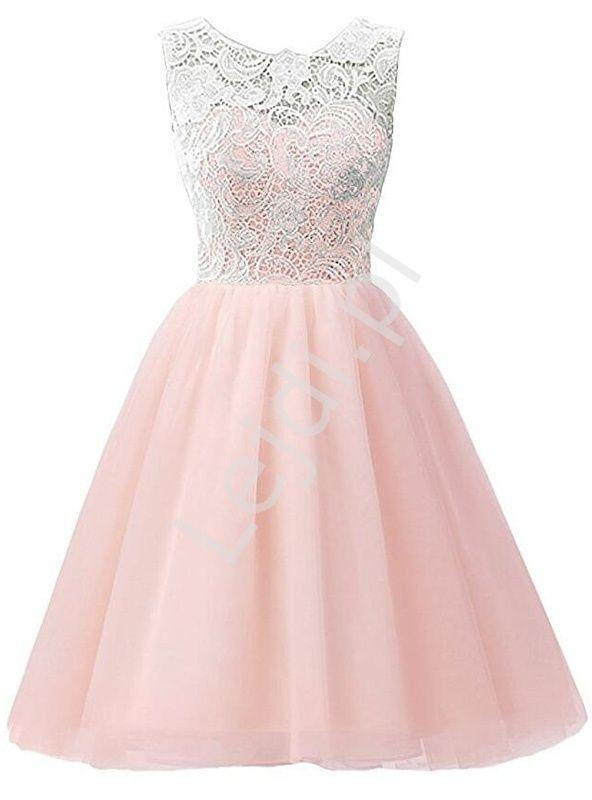 613098cc97 Jasnoróżowa sukienka z szyfonu z koronkową białą górą dla dziewczynki.  Sukienki dziecięce.