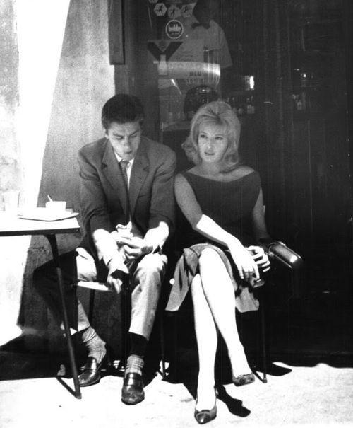 "cinemarhplus: "" Alain Delon and Monica Vitti on the set of L'eclisse """