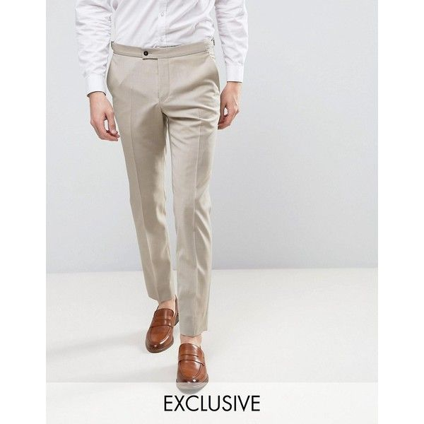 Hart Hollywood Skinny Wedding Suit Pants ($41) ❤ liked on Polyvore featuring men's fashion, men's clothing, men's pants, men's dress pants, beige, mens tall pants, mens super skinny dress pants, mens slim fit suit pants, mens skinny dress pants and mens stretch dress pants