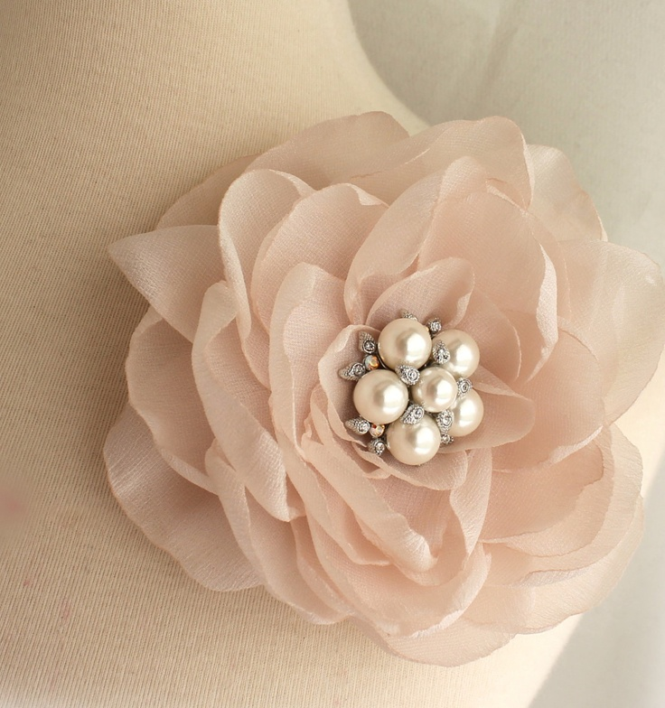 Vintage Style Blush Pale Pink Floral Fascinator - Brooch pin and Hair clip - 2 in 1 - Heirloom Crystal Pearl - Vintage Glamour Headpiece. $62,00, via Etsy.