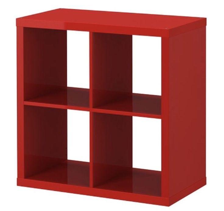 Ikea Kallax 4 shelf square unit High Gloss Red