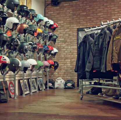 Nice shop wall with cool helmets                                                                                                                                                                                 More