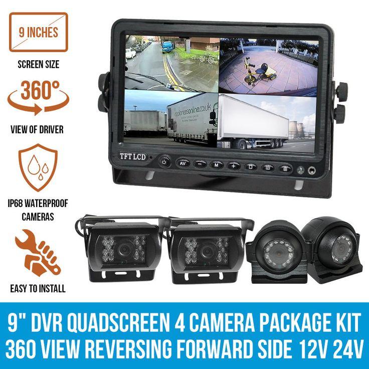 """Quadscreen 9"""" DVR 4 Camera Package Kit 360 View Reversing Forward Side 12V 24V"""