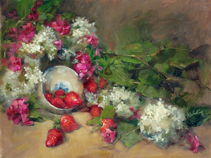 Barbara Schilling: Spilling Strawberries, -The process steps tutorial, 16x20,  oil on linen