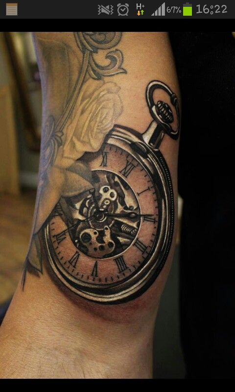 Clock. Pocket watch tattoo..I'm really in love with this, just the watch, no flowers for me!