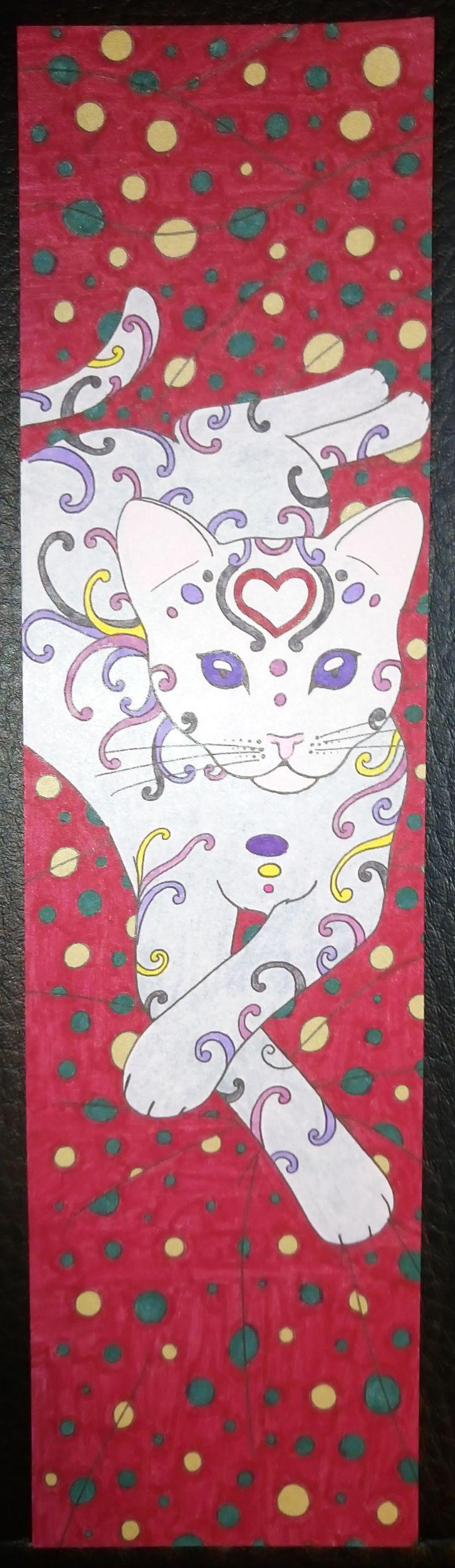 Colouring Mes Marque pages a colorier chats Gato Fondo granate lunares dorados y verdes