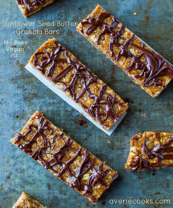 Sunflower Seed Butter Granola Bars with Chocolate Drizzle (no-bake, vegan, GF) - Homemade, healthier granola bars that take just minutes to make! Recipe at averiecooks.com