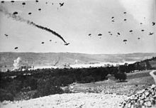 German paratroopers land in Crete-On 25 April 1941, King George II and his government left the Greek mainland for Crete, which was attacked by Nazi forces on 20 May 1941. The Germans employed parachute forces in a massive airborne invasion and attacked the three main airfields of the island in Maleme, Rethymno and Heraklion. After seven days of fighting and tough resistance, Allied commanders decided that the cause was hopeless and ordered a withdrawal from Sfakia.