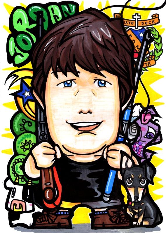 For Jordan in New Zealand / Hand Drawing Portrait A4 size - 手描き似顔絵 A4サイズ    Happy B-day!!