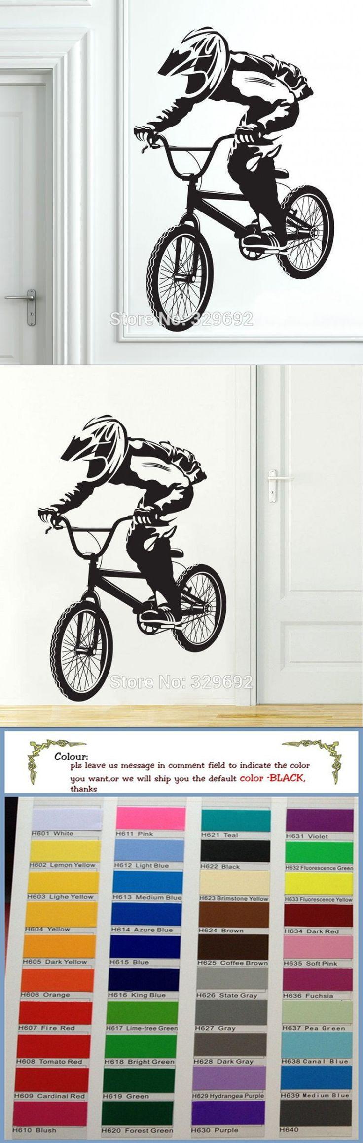 Bmx bike bicycle biker boys wall decal vinyl home decor wall stickers vinyl mural tx 098