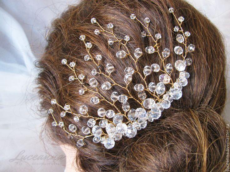 Купить Позолоченное украшение в причёску для невесты - золотой, белый, свадьба, свадебные аксессуары, свадебное украшение