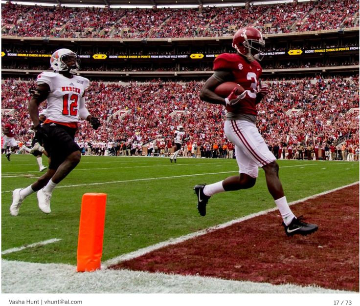 TOUCHDOWN ALABAMA! Alabama wide receiver Calvin Ridley (3) scores on a long pass during the first half of the Alabama vs. Mercer football game, Saturday, Nov. 18, 2017, at Bryant-Denny Stadium in Tuscaloosa, Ala. Vasha Hunt/vhunt@al.com