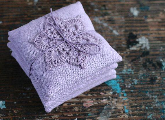 Lavender sachets crochet motif set of 4 by namolio on Etsy