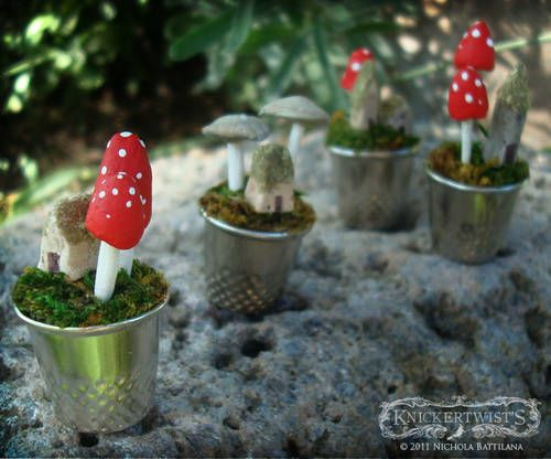 little world in a thimbleGardens Ideas, Crafts Ideas, Thimble Crafts, Fairies Gardens, Fairies House, Gnomes Gardens, Thimble Mushrooms, Thimble Gardens, Tiny Home