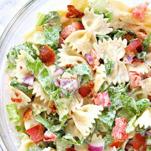 Blt Pasta Salad With Bow-tie Pasta, Romaine Lettuce, Chopped Tomatoes, Bacon, Purple Onion, Ranch Dressing, Sour Cream, Mayonnaise, Ground Black Pepper, Apple Cider Vinegar