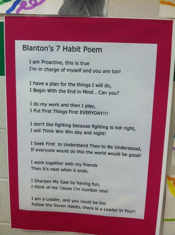 7 Habits Poem #CharaterEducation
