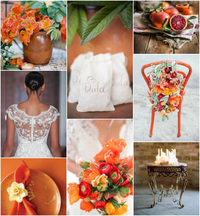 Dive into the tropics. Here's an inspiration board that blends together a gorgeous palette of orange, red, green, and browns #tropical #inspirationboards