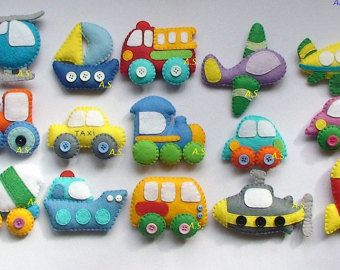 This price is for 6 items  Cars toys. Soft, pleasant to the touch, warm toys. Fire truck, truck mixer, bus and passenger car, taxi cab, truck Each item have 1 strong magnet inside, so you can put them on refrigerator ( fridge ) or magnetic board for example.  Size of each item is about 3 inches.  This set is 100% hand cut and hand sewn.  Its made with love to children.  Thanks for looking and do not hesitate to ask if you have any questions