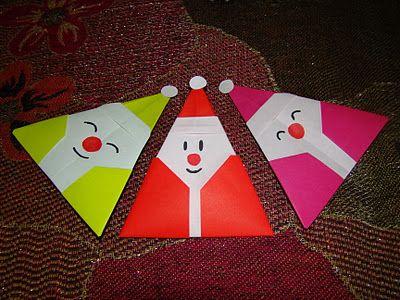 Plus facile que l'autre exemple :                                Origami Santa Claus 1