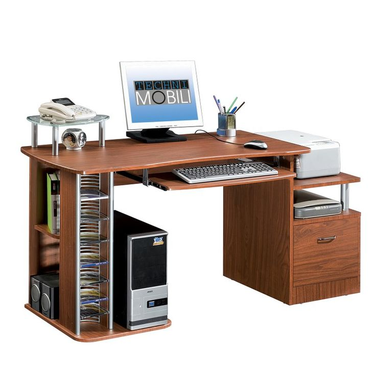 Techni Mobili Multifunction Computer Desk with Filing Drawer - RTA-2202-CH36
