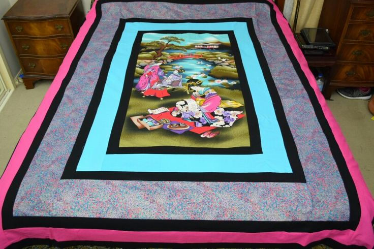 This sensational asian inspired , queen size bedspread is for sale $450 It is all hand done and all are one ofs Never to be repeated