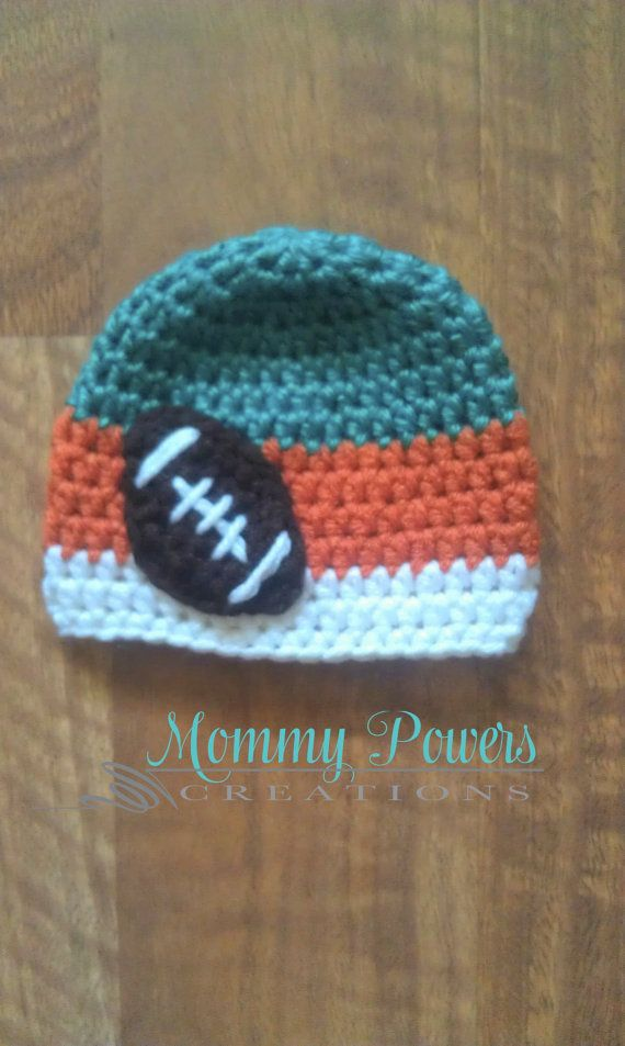 Miami Dolphins Football Crochet Beanie Hat by MommyPowersCreations, $15.00