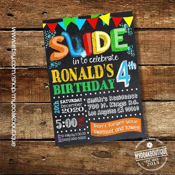 Slide Pool Bash Invitation Backyard Birthday Party Waterslide Invite Summer Chalkboard Digital Printable 13598 By