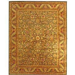 Handmade Antiquities Kerman Charcoal Green Wool Rug (7'6 x 9'6)
