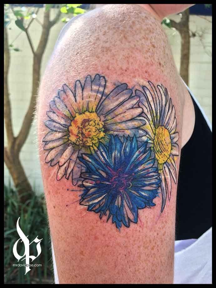 Dasies and Corn Flower   MrDavidPoe   Tattoo Artist   Austin, TX