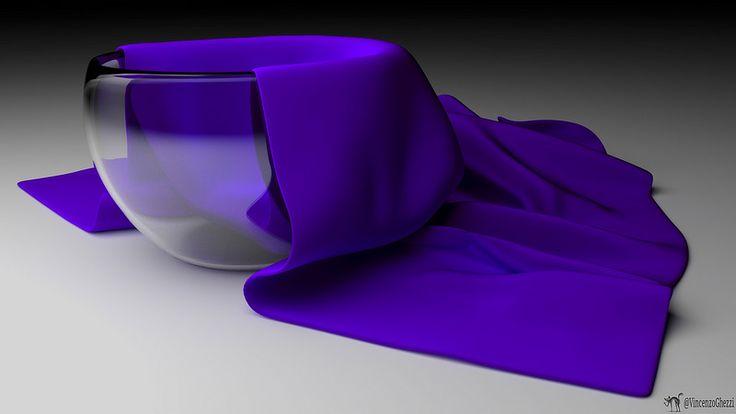 Purple tissue and glass jar