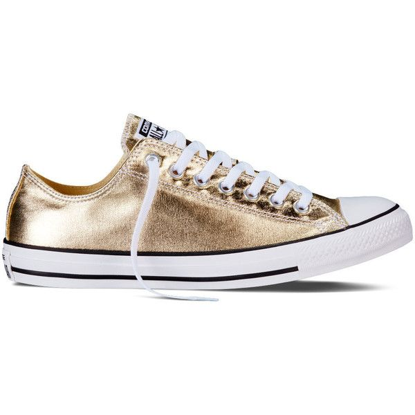 Converse Chuck Taylor All Star Metallic – light gold Sneakers ($60) ❤ liked on Polyvore featuring shoes, sneakers, light gold, converse footwear, metallic sneakers, metallic shoes, shiny shoes and polish shoes