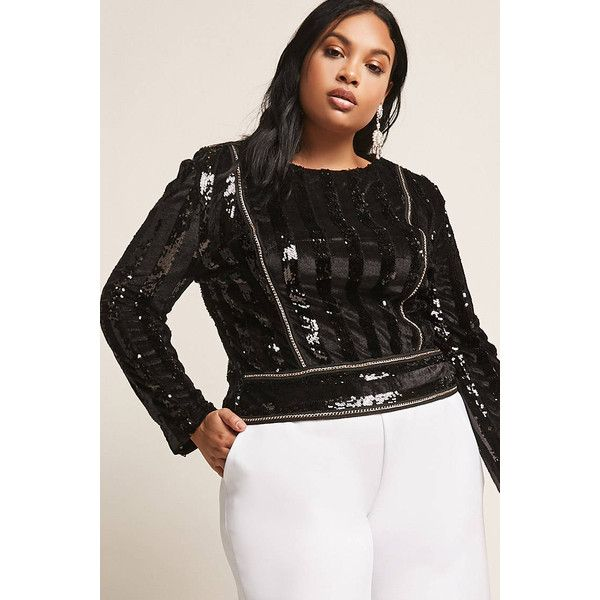Forever21 Plus Size Velvet & Sequin Top ($45) ❤ liked on Polyvore featuring plus size women's fashion, plus size clothing, plus size tops, black, velvet long sleeve top, sequin top, striped long sleeve top, long sleeve sequin top and striped top