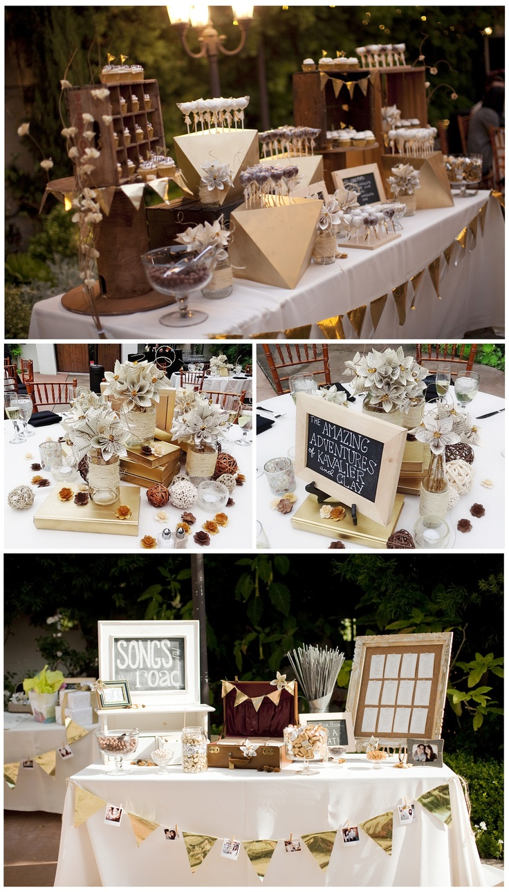Various Table Designs from our wedding. Vintage, Gold, Literary, Handmade, DIY. All the flowers were crafted out of paper and wood. The tables were named after some of our favorite books, and for the seating chart, I made library cards.