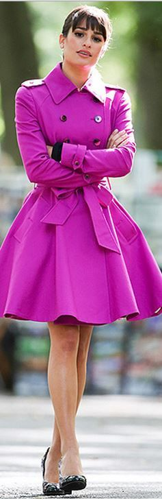 Torn! do I put this under my fave celeb pins or stylish looks? This might get double pinned! Pink trench coat on Lea Michelle