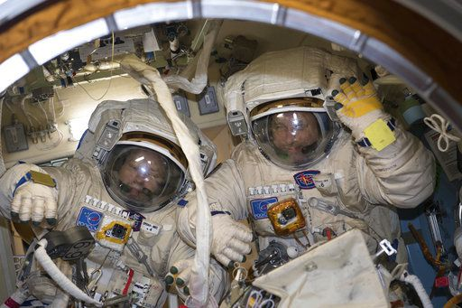 A record-setting Russian spacewalk ended with a critical antenna in the wrong position Friday outside the International Space Station.