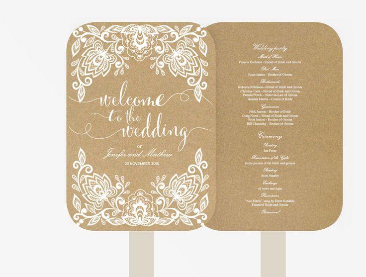 Wedding Fan Program   Editable MS Word Template DIY   Kraft white text   white lace