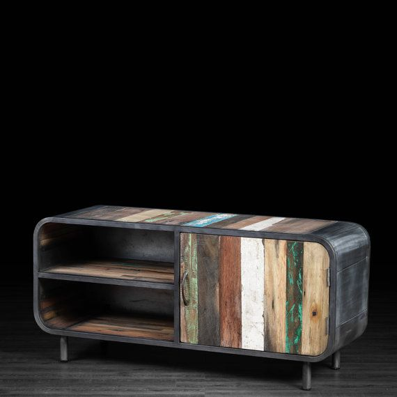 Media Console Stand made of Recycled Boat Wood from Indonesia  TV Stand  made of Salvaged