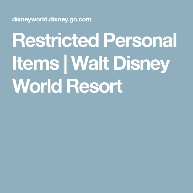 Restricted Personal Items | Walt Disney World Resort