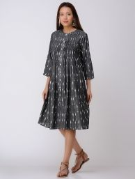 Buy Grey Red Embroidered Inverted Box Pleated Cotton Dress by Jaypore SALE! Online at Jaypore.com
