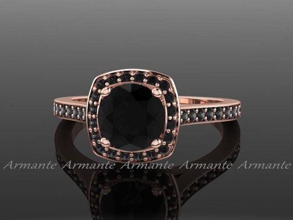 Black Diamond Engagement Ring Unique Black Diamond  Ring 14k