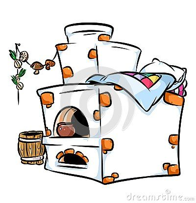 Russian brick ovens cartoon illustration  isolated image