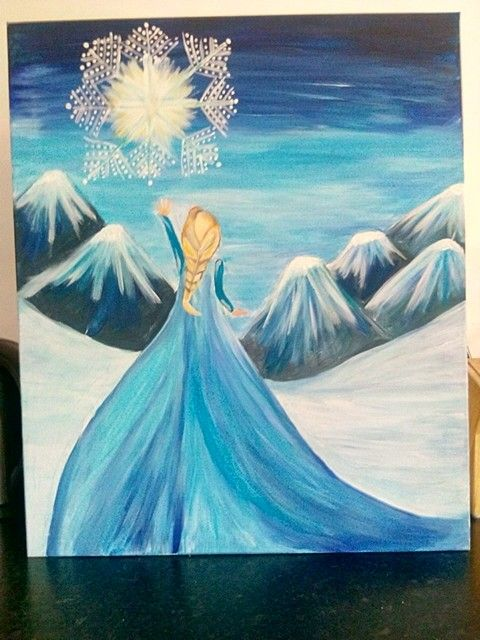 The snow scene from frozen, Anna. Hand painted acrylic on large canvas £35