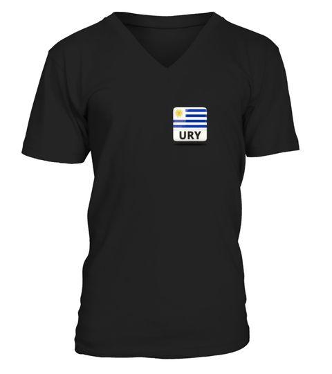 Uruguay Flag on left chest T-Shirt humanrights T-shirt