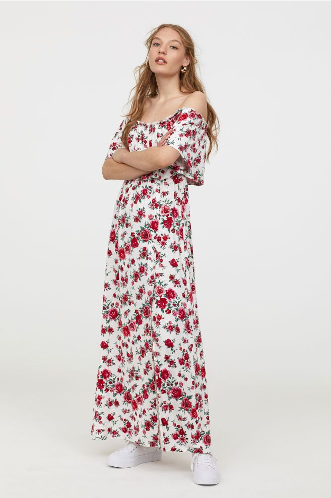 a31c49fdcda Off-the-shoulder Dress - White roses - Ladies
