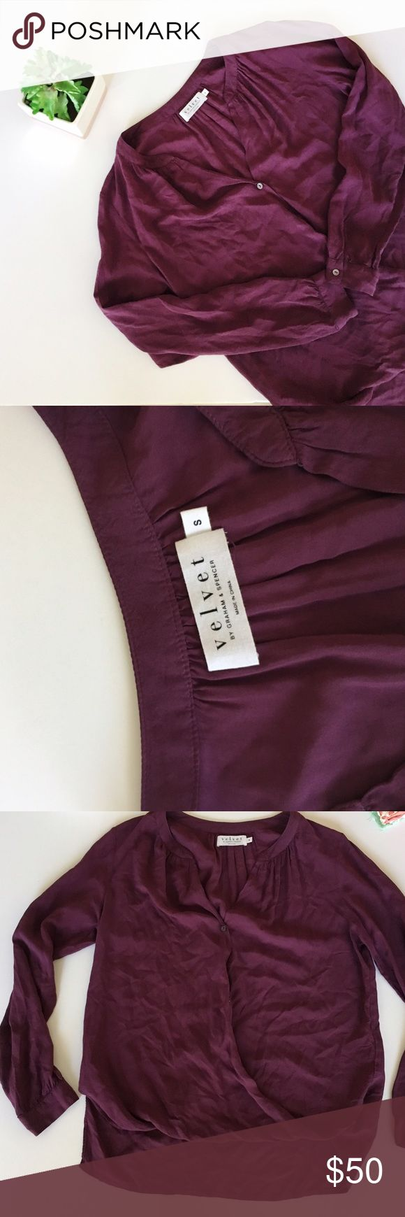 Velvet by Graham & Spencer Wrap Button Top Velvet by Graham and Spencer wrap front top size small. Button detailing. Front 20 inches, back 24 inches, bust 20 inches. No stains or holes, make an offer! Velvet by Graham & Spencer Tops Blouses
